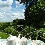 Tea at the end of the garden; the view goes on forever