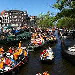 Queens Day celebration on nearby Prinsengracht