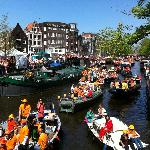 Queens Day celebrations on Prinsengracht