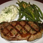 Prather Ranch Steak with Garlic Mashed Potatoes & Greenbeans