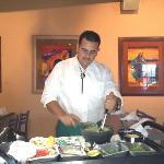 preparing guacamole tableside