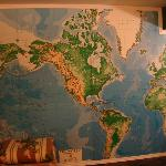 Huge world map on entire wall of bathroom -- loved it.