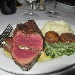 8 oz Filet with Mashed Potatoes, Mushrooms, and Creamed Spinach