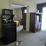 view of bedroom and living room