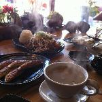 A feast - ginger tea, fried dumplings, steamed dumplings, beef and vegie bulgogi, and crispy sea