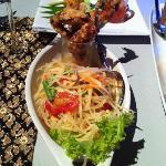 Som Tam green papaya salad with soft shell crab