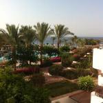 vue de la terrasse, la piscine et au fond, la Mer Rouge