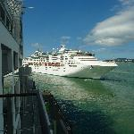 Cruise liner leaving from balcony