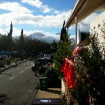 A patio view from Church Street looking north towards the Winterhoek mountains