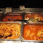 Meatballs, spinach lasagne, pasta, fish.
