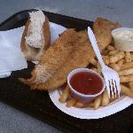 Crab roll and fried haddock plate (huge!)