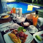 Breakfast by the private pool