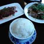 Red pork and grilled duck