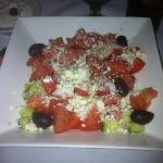 Greek Salad with tzatziki in the background!