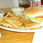 Fried Flounder Sandwich - with the add-on of fries and coleslaw