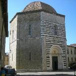 Exterior of the Baptistry in Volterra in green and white marble.