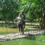 walking on the wooden bridge