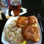 2 pcs. Beer Batter Halibut with fries & slaw