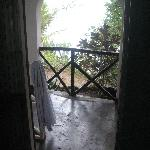 Balcony overlooking the beach, at high tide, it's almost beneath your feet