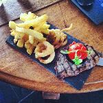 Steak on slate