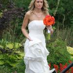 Beautiful bride in our garden path