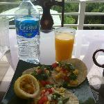 Enjoying our breakfast on our balcony.