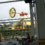 sat in the soft play area with a view of one of the rides