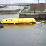 Yellow Submarine Being Towed in Queens Dock