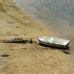 Fischerboot bei Ebbe am Ria