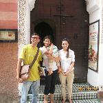 At entrance of Riad Bab Firdaus with Chadia
