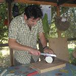 Paolo preparing the eggplant