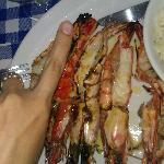 Medium size prawns and my finger