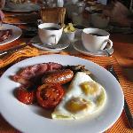 Tasty farmer's breakfast with fellow guests