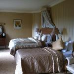 beautiful super deluxe bedroom with gorgeous linens. the bathroom was so large and up to date.
