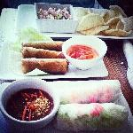 shrimp chips, spring rolls,summer rolls