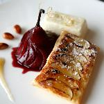 Pear tart and poached pear