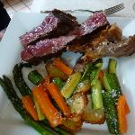 Beef steak and roasted vegetables