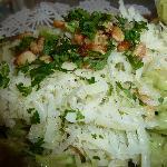 Spinach fettucine with shrimp in pesto
