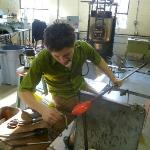 Glass blowing demonstration at Sunspots Studios