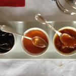 Six fresh made jams handmade by Muriel.