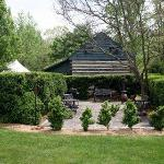 Boxwood garden - gas grill and chiminia