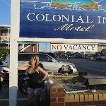 Daughter advertizing Colonial Inn Motel :-)