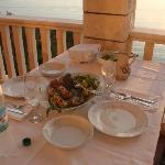 Dinner served on the balcony