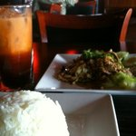 Lunch special of beef with pepper & garlic, plus Thai tea. About $8