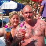 charlie and tracy leck at the pool