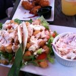 Fish tacos and pineapple coleslaw