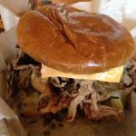 B&B's sandwich: pulled pork shoulder w/cheese, lettuce, tomato & mayo; so tender and juicy u can