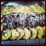 skirt steak with mushroom cream sauce with tostones