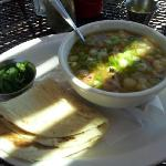 Green chile posole on the patio
