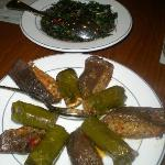 Stuffed grape leaves & stuffed dried eggplant at Ciya.